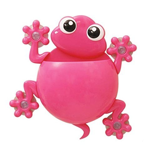 Cipon Gecko Kids Toothbrush Toothpaste Holder Wall Mounted Suction Cup Bathroom Decor Pink