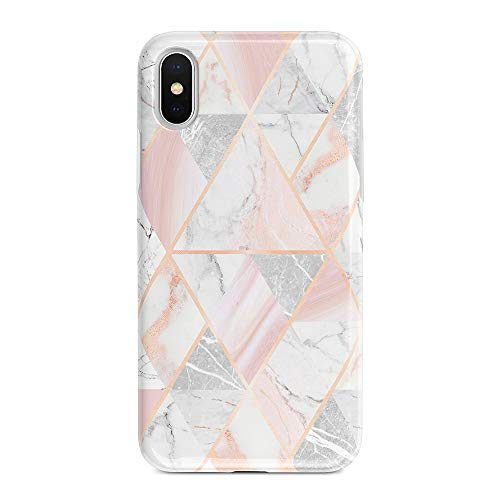 uCOLOR Case Compatible with iPhone Xs/X,iPhone 10 Protective Case Glossy Rose Gold White Grey Geometric Marble Slim Soft TPU Silicone Shockproof Cover Compatible iPhone -