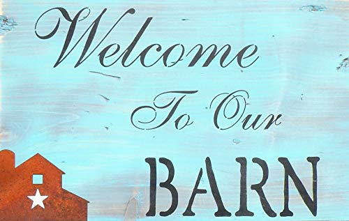 MosesMat41 Welcome to Our Barn Rustic Wood Sign Rusty Rooster Farmhouse Sign Horse Barn Vintage Blue Stain Sign Antique Ivory Pig Farm Star Sign