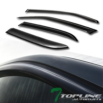 Topline Autopart Smoke Window Visors Deflector Vent Shade Guard 4 Pieces For 05-10 Chrysler 300 ; 05-08 Dodge Magnum