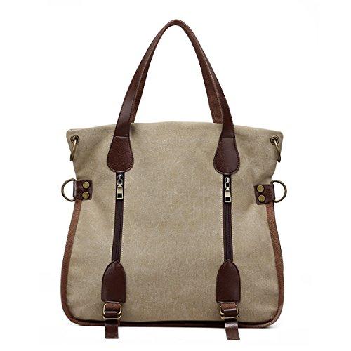SDINAZ De las mujeres grande bolsos ligero lona bolsa de hombro Moda bolsas de verano para mujeres Caqui