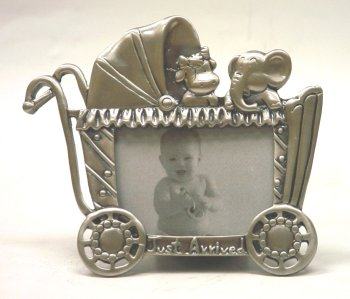 Baby Pewter Finish Frame (5×3½ Baby Buggy with Cow & Elephant - 'Just Arrived' (Item # 938))