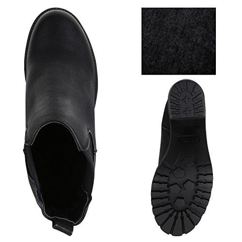 Stiefelparadies Leicht Gefütterte Booties Damen Stiefeletten Plateau Chelsea Boots Plateauschuhe Blockabsatz Profilsohle Schuhe Leder-Optik Glitzer Flandell Schwarz Agueda Black