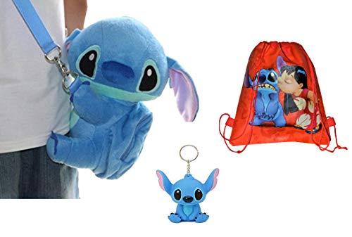 Disney Stitch Set . Soft Plush Crossbody/Shoulder Mini Bag With Mini Pocket + Stitch 3D Keychain.