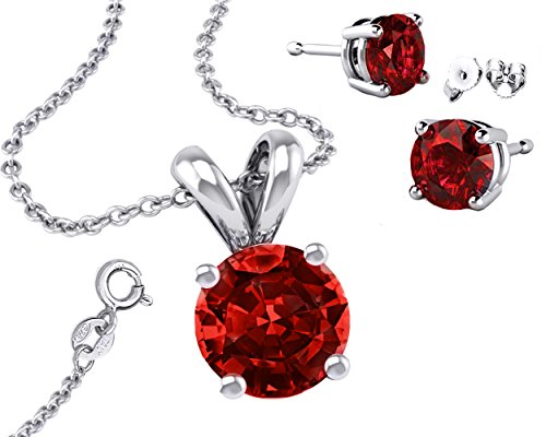 925 Cubic Zirconia 2.00 Carat Round Necklace with Pendant and 18 Inch Rolo Chain Red Synthetic Ruby