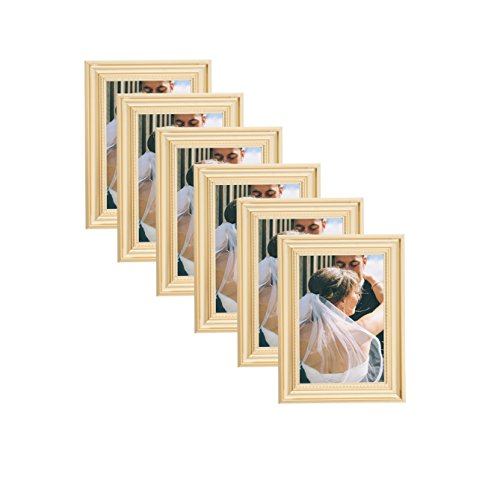Elegant Beaded Gold Border Picture Frames 4x6 (6 pc) Display with Photo Glass Front, Easel Back, Hanging Clip (Set of 6, 4x6)