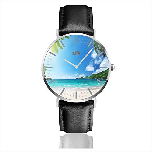 - Tropical Beach Mens Watches Chronograph Sports Watch Water Resistance Quartz Black Clock Business Wristwatch with Leather Strap Watch for Women Girls Boys 38mm/1.5