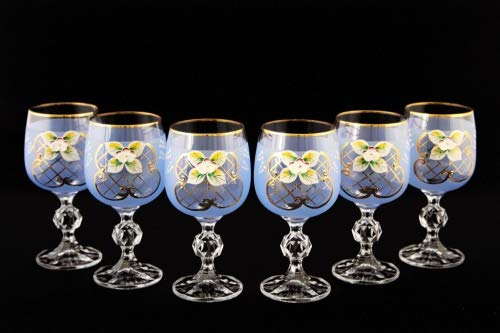 Crystalex 6pc Bohemia Colored Crystal Vintage Enamel Blue Wine Goblets Set, 24K Gold-Plated, Hand Made ()