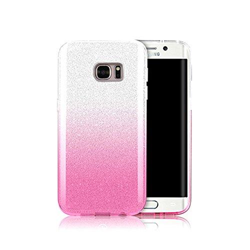 Funda tapa trasera para Galaxy S7 Edge, Vandot Funda 360 Doble Delantera + Trasera Transparente Silicona Gel Integral para Galaxy S7 Edge, Two Cristal Crystal Centelleo Cover Funda Caja del TPU Silico SFTPU-6