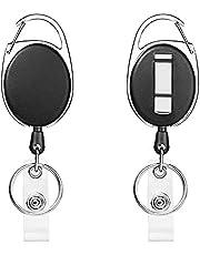 FGXY 2 Stks Intrekbare Badge Reels, sleutelhangers, karabijnhaak en riemclip met nylon koord, Reel Clips Intrekbare Badge Houder Met Sleutel Riem Reel, Voor Sleutelhanger Id-kaart Badge Houder