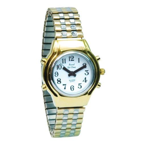Ladies Royal Tel-Time Talking Watch - White Dial - Expansion Band by Royal Tel-Time