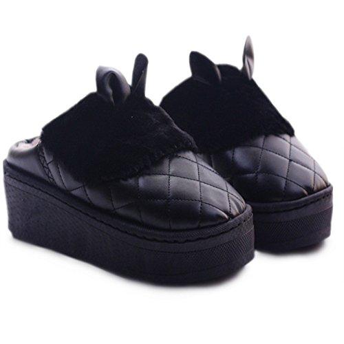 Femmes De Cybling Chaud Intérieur Pantoufle Mignon Lapin Maison Chaussures Épaisse Semelle Anti-dérapant Étanche Noir