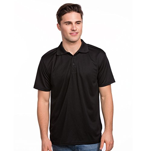 Men's Lightweight Active Sports Polo (Black, Large) (Polyester Shirt Polo Golf)