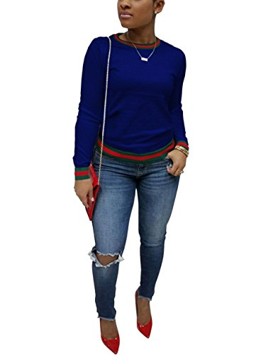 Akmipoem Casual Autumn Long Sleeve Round Neck Cotton Tops New Brief Blouse Tops For Ladies Blue XL
