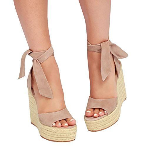 Fashare Womens Open Toe Tie Lace Up Espadrille Platform Wedges Sandals Ankle Strap Slingback Dress Shoes Khaki