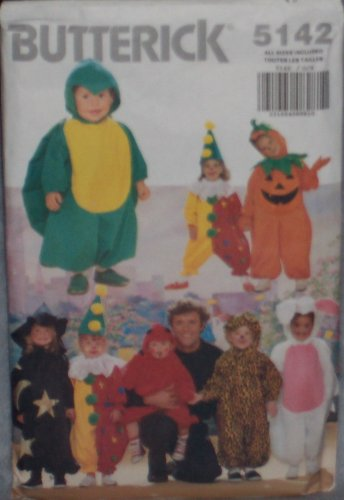 Toddlers/Childrens Costume Pattern: Turtle, Witch, Clown, Leopard, Pumpkin, Devil, Rabbit (Butterick #5142) - Childrens Witch Costume Pattern
