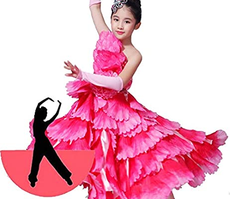 SMACO Decoración Floral Disfraces de Bailarina española para niños Disfraz de Baile Flamenco Sexy Disfraz de niña para Baile de Flamenco,540°,140CM: Amazon.es: Deportes y aire libre