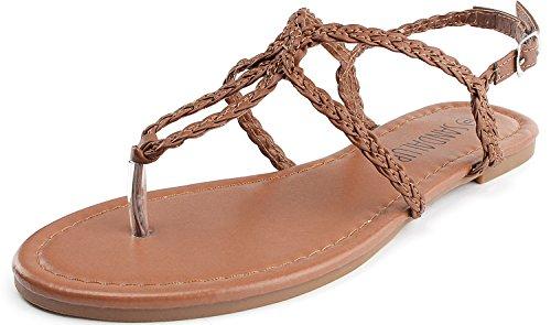 SANDALUP - Sandalia correas trenzadas para mujer, color Marron, talla 41