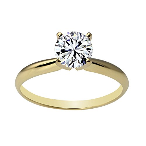 (Solstice 14k Yellow Gold 4-Prong 6mm Round Solitaire Ring Made with Swarovski Zirconia (Size 6, 1 cttw))