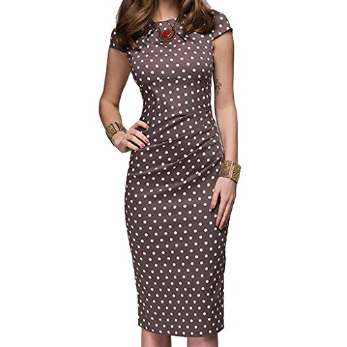 Caopixx Women's Elegant Bodycon Party Dress Knee-Length Casual Business Work Pencil Dress Brown
