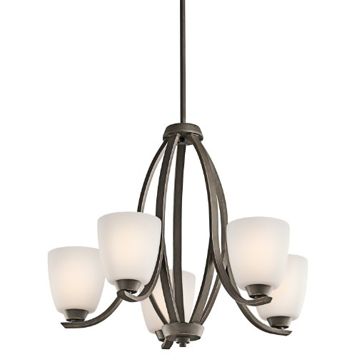 Kichler  42557OZFL Granby 5-Light CFL Chandelier with Satin Etched Cased Opal Glass Shades, Olde Bronze Finish