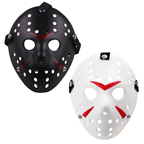 Orgrimmar Costume Jason Mask Cosplay Halloween Masquerade Party Horror Mask (Black and White) -