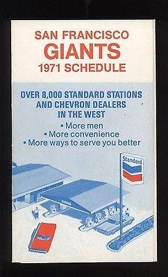 1971 San Francisco Giants Baseball Schedule MINT