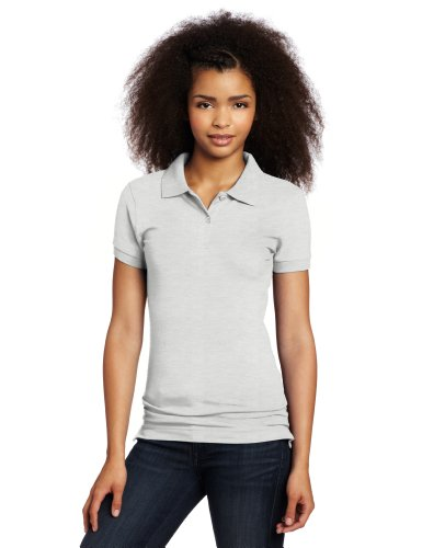 Lee Uniforms Juniors Stretch Pique Polo, Heather Grey, X-Large