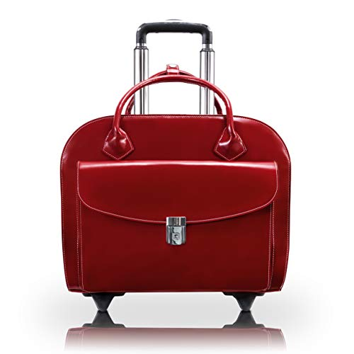 Red Wheeled Computer Cases - McKlein Granville, Top Grain Cowhide Leather,