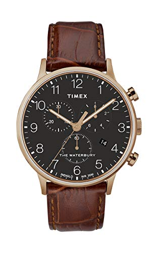 (Timex The Waterbury Black Dial Leather Strap Men's Watch TW2R71600)