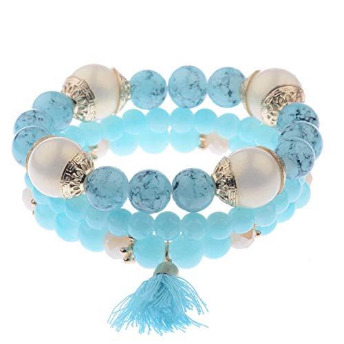 Hebel Charm Women Bohemian Multilayer Pearl Beaded Tassel Pendant Chain Bracelet Sets | Model BRCLT - 31812 |