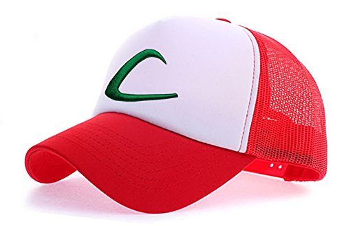 Pokemon Pocket Monster Ash Ketchum Baseball Trainer Cap Hat Anime Cosplay Red/White T1 ()