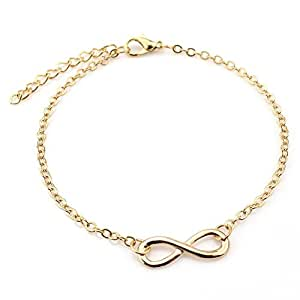 "Bullidea Girl Fashion Simple Lucky ""8"" Anklets Chain Women Foot Bracelet Barefoot Sandal Beach Foot Jewelry"