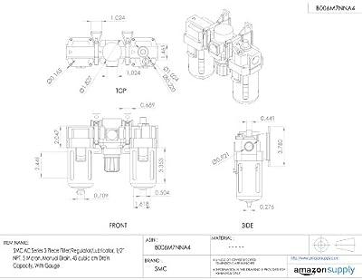 "SMC AC Series 3 Piece Filter/Regulator/Lubricator, 1/2"" NPT, 5 Micron, Manual Drain, 45 cubic cm Drain Capacity, With Gauge"