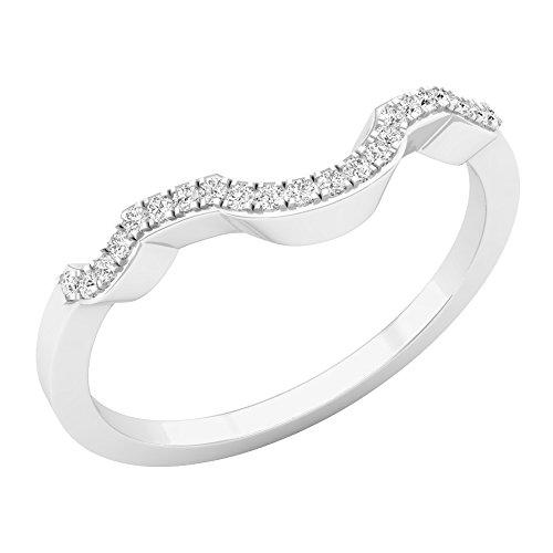0.10 Carat (ctw) 10K Gold Round Cut White Diamond Ladies Anniversary Wedding Band Guard Ring 1/10 CT
