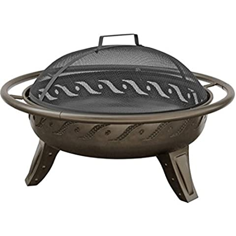 Sturdy Steel Construction Design Decorative Firewave Patio Metal Fire Pit (Two Dogs Designs Fire Pit Cover)