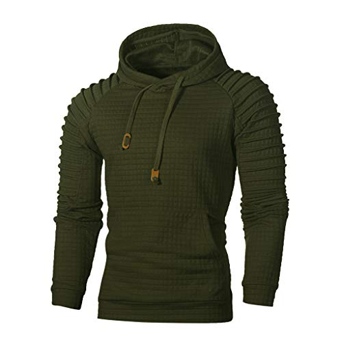 Mens Casual Long Sleeve Plain Pullover Drawstring Hoodie Basic Breathable Sweatshirt (Army Green, 2XL)