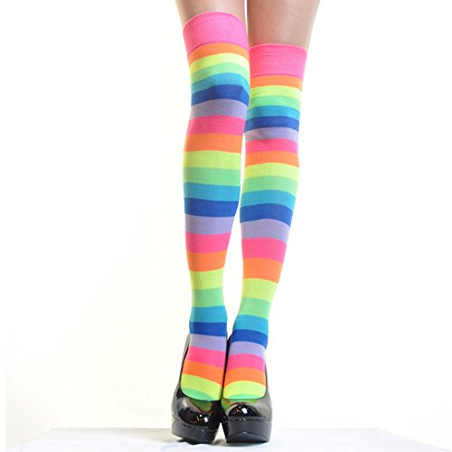 Angelina Neon Rainbow Thigh High socks, #6753A, One size (Thigh Socks For Women)