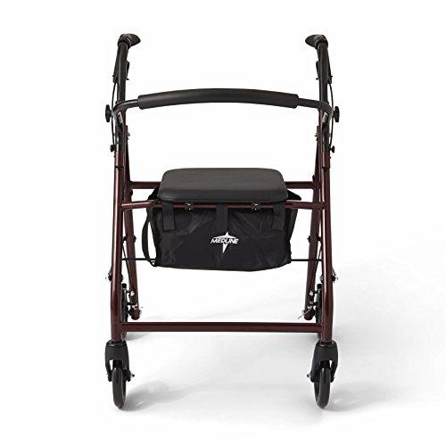"""Medline Steel Foldable Adult Rollator Mobility Walker with 6"""" Wheels, Burgundy by Medline (Image #2)"""