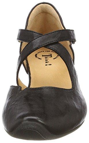 para Schwarz con 00 Think Negro Tobillo Aida 282240 Tacon Correa y Mujer Zapatos de wppzU7Fq