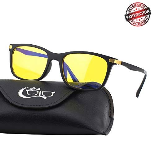 (CGID CY46 Premium TR90 Frame Blue Light Blocking Glasses,Anti Glare Fatigue Blocking Headaches Eye Strain,Safety Glasses for Computer/Phone/Tablets,Rectangle Flexible Unbreakable Frame,Yellow Lens )