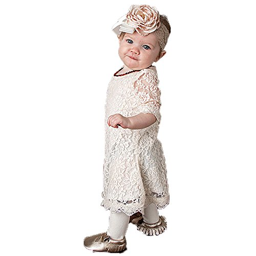 Flower Girl Dress, Lace Dress 3/4 Sleeve Dress