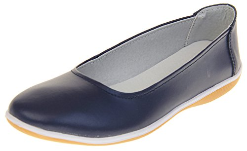Footwear Studio Coolers Womens Leather Slip On Ballerina Flats Shoes Navy Blue rdtFVB