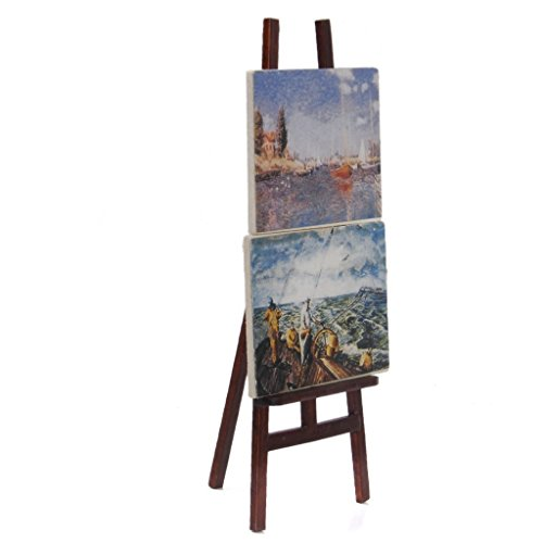 SODIAL(R) 1:12 Doll house Miniature artist easel with 2 paintings pictures