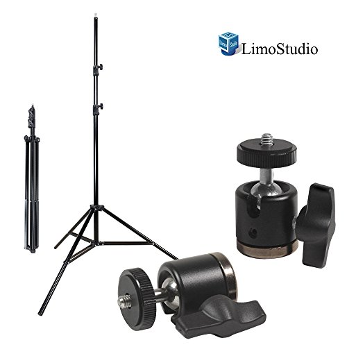 LimoStudio [2 PCS] Aluminum Alloy 360 Degree Swivel Rotating Mini Ball Head with Lock and 1/4 Inch and 3/8 Inch Female Thread Base Bottom, 1/4 Inch Screw Top, Light Stand Tripod, Photo Studio, AGG2234 by LimoStudio