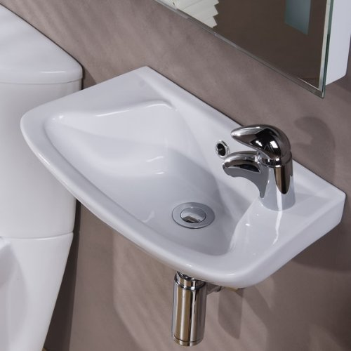 Cloakroom Basin Taps (Modern Compact Bathroom Hand Wash Basin - Wall Mounted, 1 Tap Hole, En-Suite and Cloakroom, Ceramic Designer Hung Small Sink. Dimensions - Width: 460mm, Depth: 270mm, Height: 180mm by Better Bathrooms)