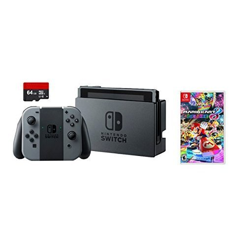 Nintendo Switch 3 items Bundle:Nintendo Switch 32GB Console Gray Joy-con,64GB Micro SD Memory Card and Mario Kart 8 Deluxe