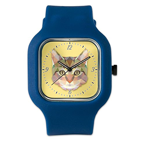 Navy Blue Fashion Sport Watch Triangle Cat Kitten