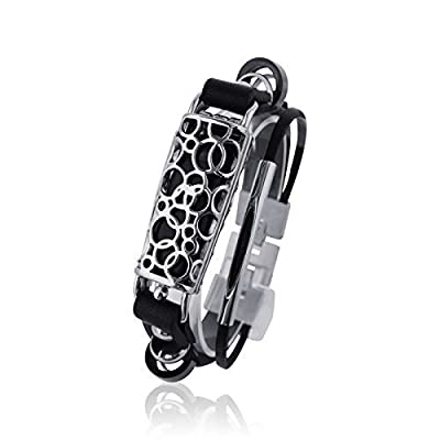 Fitbit Bracelet SOMA - FitBit flex Jewelry - Silver/ Black - stainless steel - real leather