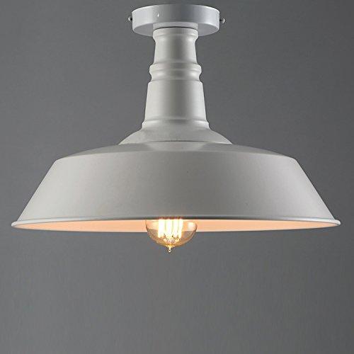 Antique White Semi Flush (Industrial Simple Mini Ceiling Light - LITFAD 14
